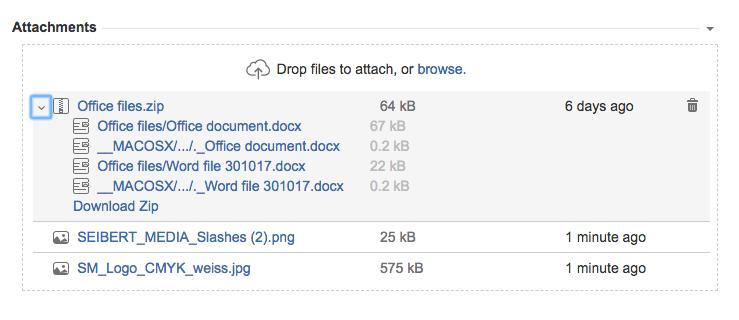 Jira - How do you access a Zip file attachment in a Jira issue